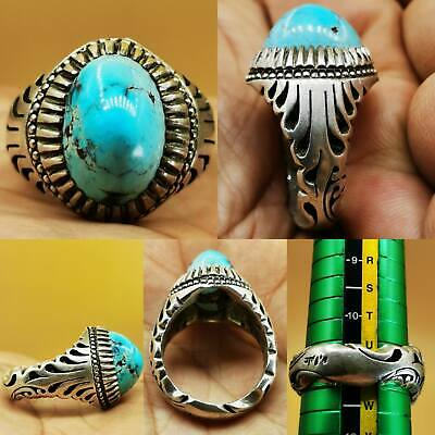 Antique Nishapur Turquoise Genuine Stone Silver Beautiful Ring  # 109