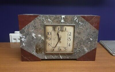 French Art Deco Red Marble Clock for spares and repairs
