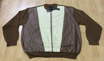 MEN/'S BAGAZIO IVORY//RUST FAUX LEATHER 1//4 ZIP-UP FASHION SWEATER SIZE MED NEW