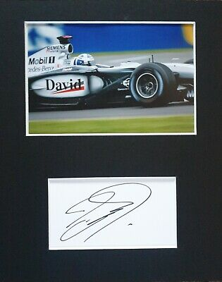 David Coulthard MBE, hand signed mounted autograph.
