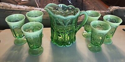 Opalescent Green Vaseline Pressed Glass Water Pitcher Footed Goblets