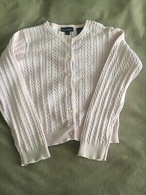 Girls RALPH LAUREN Cable Knit Cardigan Light Pink Cotton Size 6/6X Age 6-6.5 Yrs
