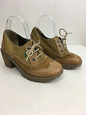 NEW WOMENS KICKERS Kopey T Bar Weave Tan Leather Boots Size