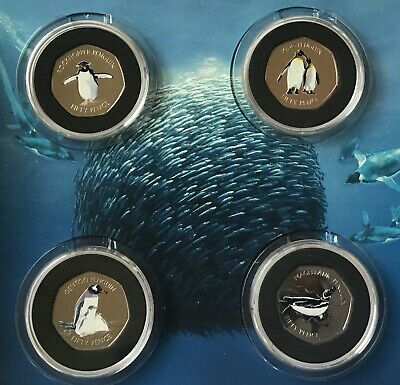 2017 Falkland Island 50p Penguin Collection all 4 Coins Limited edition 7500