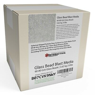 #7 Medium - 8 lbs or 3.6 kg or 6.6 Cups By Vol. Glass Beads For Sandblasting