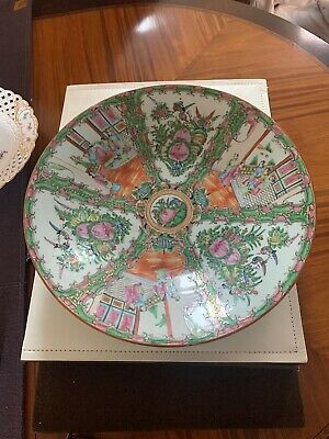 Very Large Antique Chinese Rose Medallion Charger Plate