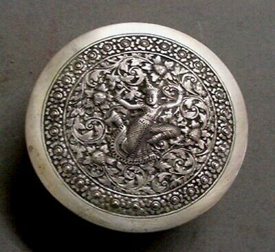 Antique Oriental  Silver Repousse Wood Lined Dresser / Trinket Box