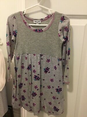 Spendid girls cotton dress, size 2T, gray/floral, barely used