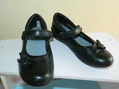 girls black Clarks flat school shoes with fasteners uk 12 eur 30