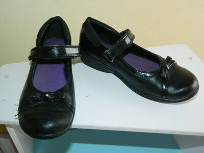 girls black Clarks leather bow school shoes with fasteners uk 13.5 eur 32.5