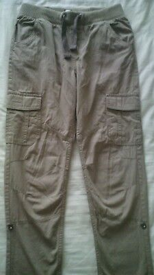 Boys Beige Cotton Trousers Elasticated Waist F&F Size 12-13 Years