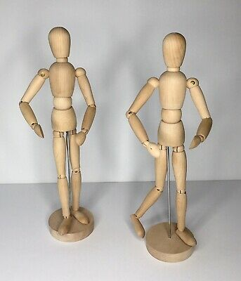 "(2) Articulated 13"" Artists Mannequin Jointed Wood Figures Unisex Adult"