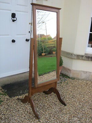 Golden Oak Arts and Crafts Cheval Floor Standing Mirror