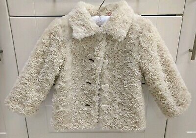 Cream Faux Fur Baby Girls Coat 18-24 Months 1-2 Years Winter Jacket