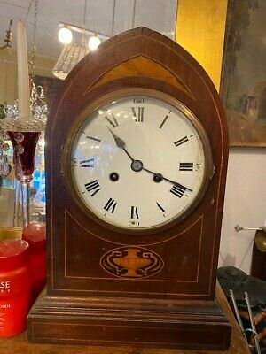 Antique German  Inlaid  Lancet  Clock. Time & Strike. . Circa 1880 - 1900