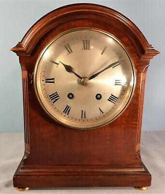 Edwardian Mahogany Cased Dome Topped Striking Mantle Clock, Working order