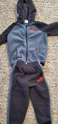 PUMA NWT Toddler Boys 2PC Track Suit Jacket Pants Top Gray Warm Up zip  2 2T
