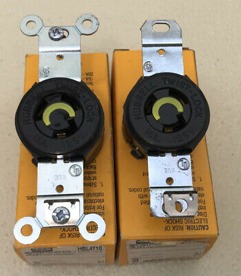 Lot of 2 - Hubbell HBL4710 Twist-Lock Single Receptacle 15A 125V 2 Pole 3 Wire