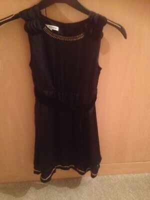 Girls Black Satin Marks And Spencer Autograph Collection Dress Age 8 Years