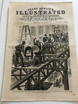 1878 Leslies Print Construction Of The Elevated RR Church St New York City #1719