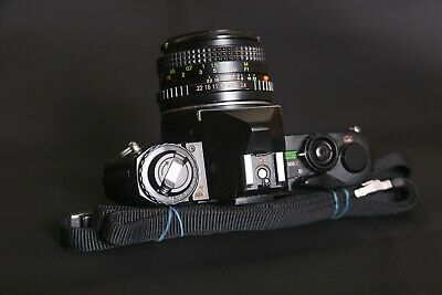 Pentax MV 35mm Film SLR with Vivitar 28mm f2.8 wide angle lens strap SERVICED
