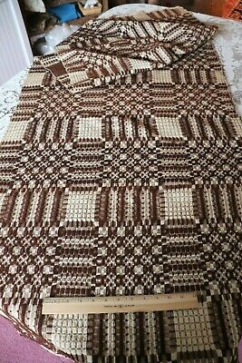 American Antique c1860 Hand Woven Linen & Wool Coverlet Fabric~Brown&Cream~93X30