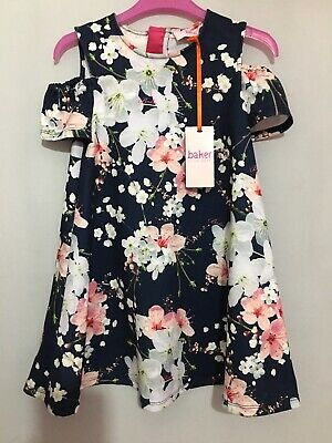 New Girls Designer Ted Baker Navy Floral Blossom Cold Shoulder Dress 6yrs