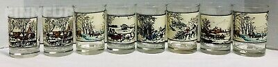 SET of 8 Vintage*Arby's*Currier and Ives*Collector Series Winter Tumbler Glasses