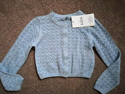 Marks And Spencer M&S Girls Pointelle Cardigan Blue Pastel 4-5 Years