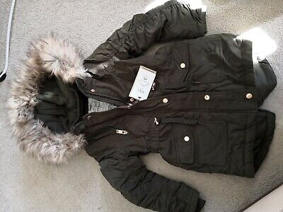 Girls M&S MARKS AND SPENCER KHAKI OLIVE GREEN Parka Faux Fur COAT AGE 5-6 YEARS