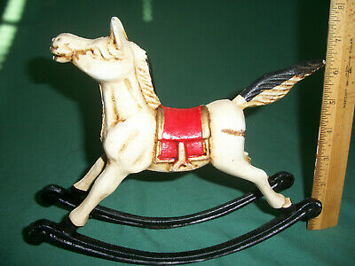 Hand Painted Cast Iron Rocking Horse Doorstop Paper Weight – 3 lbs