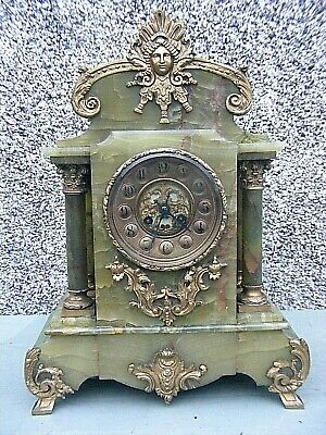 Antique Onyx Clock French Marti Grand Mantle  Clock