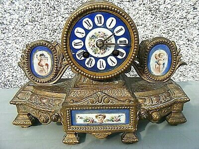 Antique Marti French Mantel Clock Gilt Sevres ? Porcelain Panel Clock