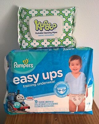 Pampers Easy Ups Training Underwear Boys Size 4T-5T,  & 19 Count & Kandoo Wipes