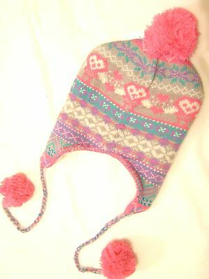 Girls Teens Pink Heart Nordic bobble Trapper Ski Hat soft fluffy fleece lining