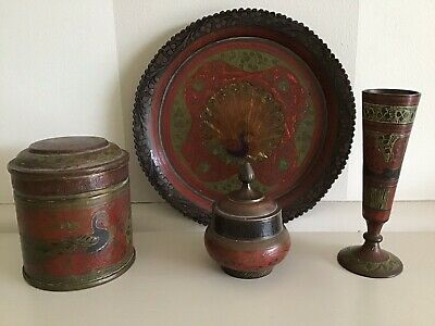 Vintage Indian Solid Brass And Enamel Etched Peacock Design Set - 4 Pieces.