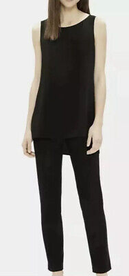 Eileen Fisher System Black Washable Stretch Crepe Slim Ankle Pants Petite PP