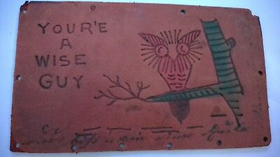 ANTIQUE Leather Post Card