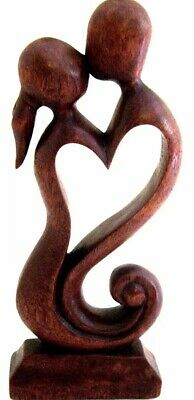 "Wooden Abstract Sculpture Statue Hand Carved ""Eternal Love"" Kiss Home Decor"