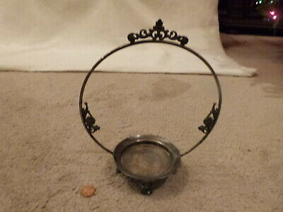 """ANTIQUE Victorian Ornate Silverplate Candy Dish or Small Brides Basket Frame 8""""T"""