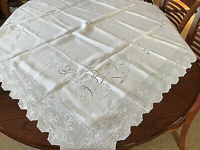 A   StunningWhite On White Cutwork Tablecloth( Lot 20)