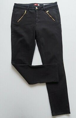 JAG Womens Black Stretch Jeans Size 12 Mid Rise Straight Leg Gold Zips EUC