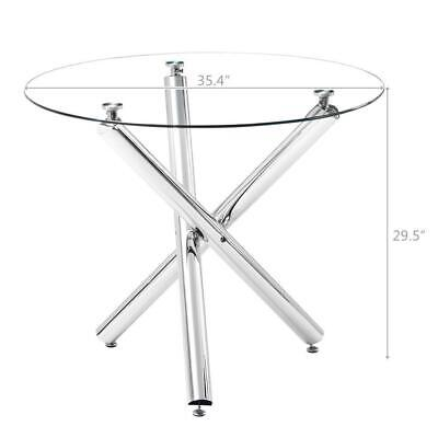 Modern Dining Glass Coffee Table w/Shelf Round Living Room Furniture Popular NEW