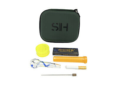 Smoke House Smoking Kit Glass Pipe Grinder Papers One Hitter Tube Bong Case