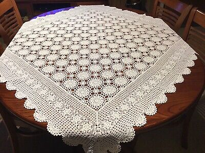 Vintage Square White Crochet Tablecloth Used Lot K