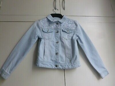 Lovely girl YD Primark funky pale denim jacket gorgeous lace on front 11-12 yrs