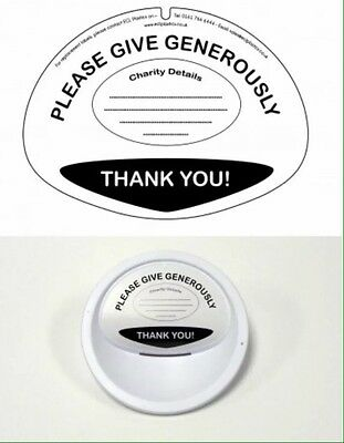 3 Lids Labels For Large Charity Money Collecting Buckets PACK OF 3 LID LABELS