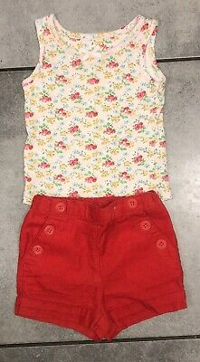Next Baby Girls Summer Corduroy Shorts Outfit 6-9 M VGC Floral