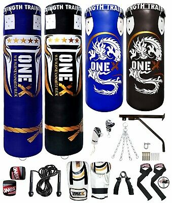 Heavy 3ft 4ft 5ft Filled Hanging Punch Bag Boxing Set MMA Punching Training Pads