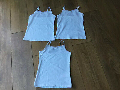 Girls  3 Cami White Vests Age 6-7.
